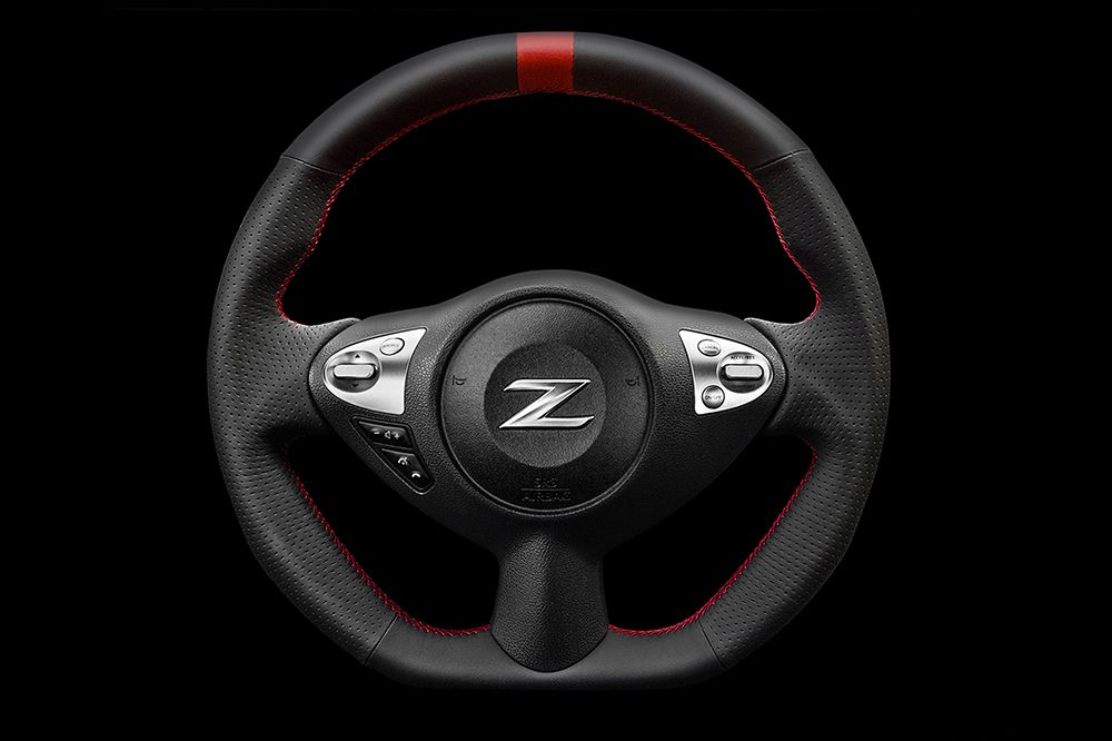 Kenstyle Red Line Leather Steering Wheel, Red Stitch - Nissan 370Z Z34