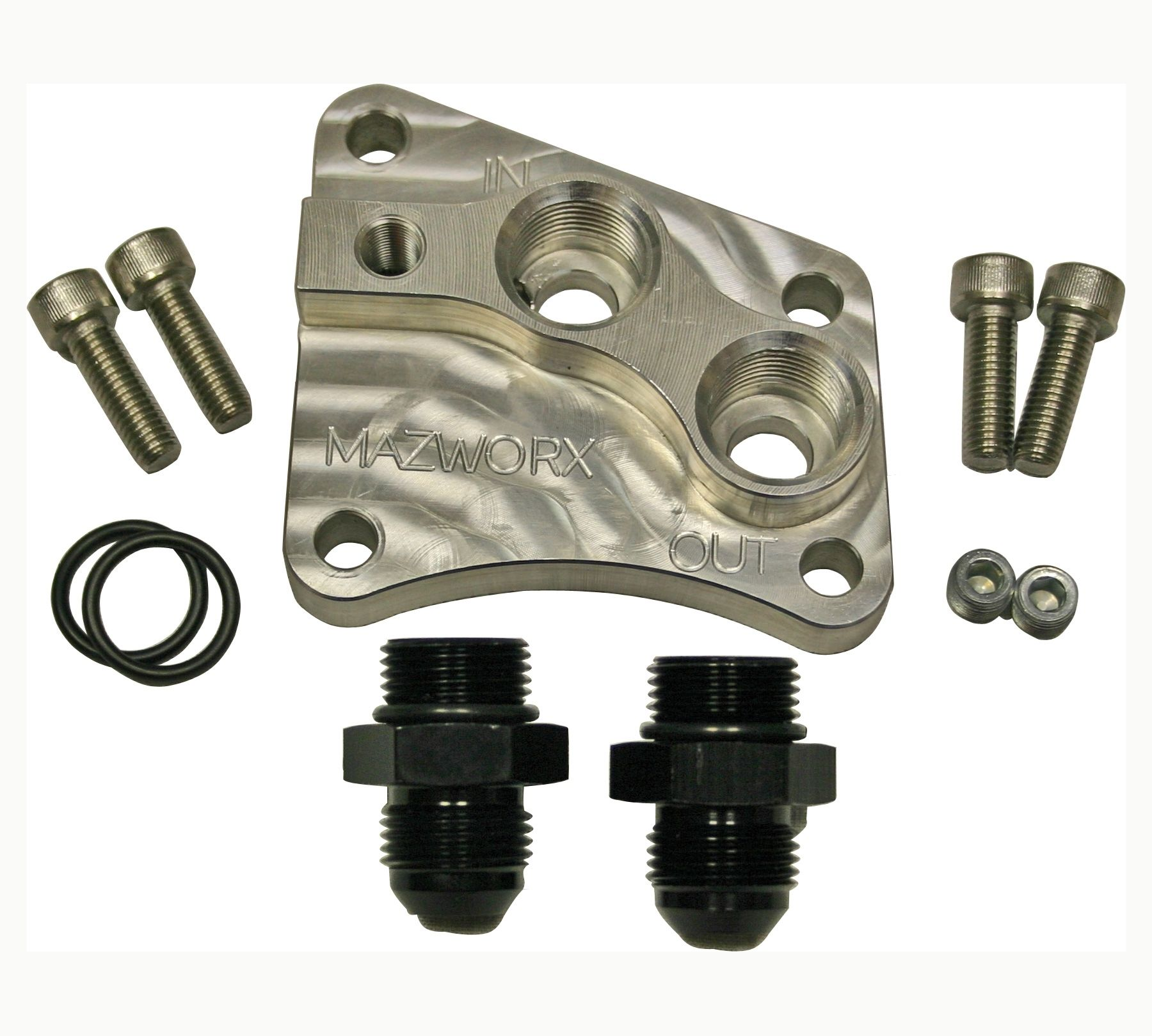 Mazworx Billet Oil Block Adapter - Nissan SR20DET RWD