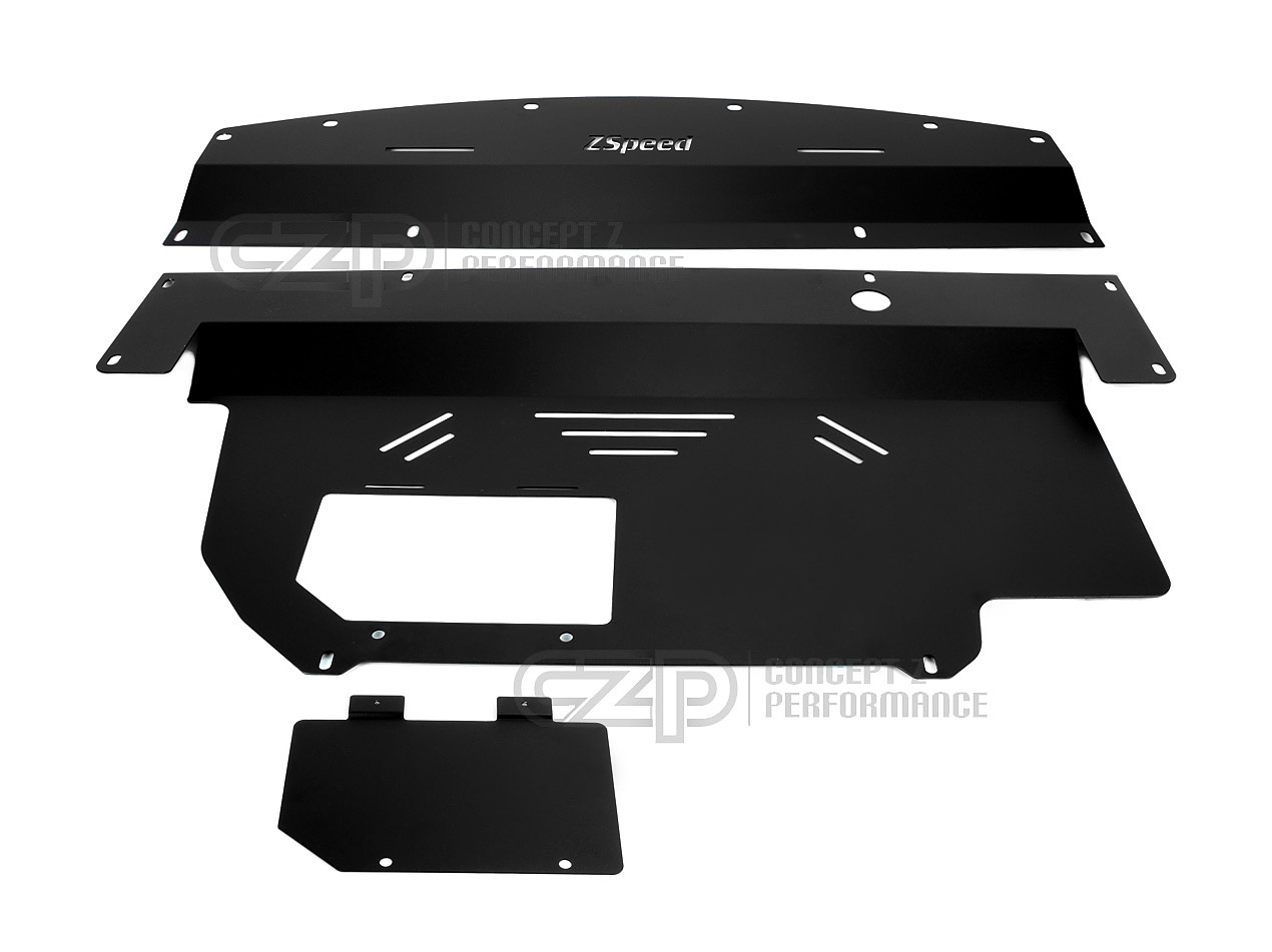 Z Speed Performance ZSP Aluminum Engine Cover Under Panel V2, Black - Nissan 350Z / Infiniti G35 RWD