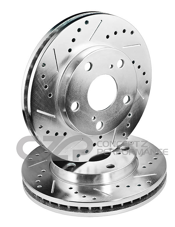 Front /& Rear Performance Brake Rotor Drilled Slotted Zinc Coated Set of 4 New